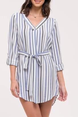 Blu Pepper Short Sleeve Woven Stripe Shirt Dress