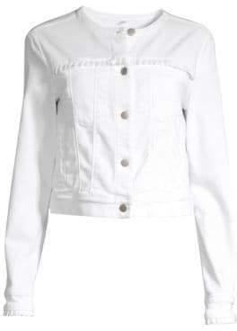 J Brand Harlow Collarless Ruffle Trim Jacket