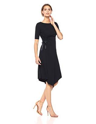 Ellen Tracy Women's Boat Neck Dress with Rouching Detail
