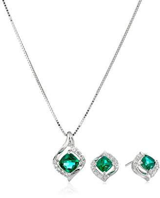 Sterling Silver Created Emerald and Created White Sapphire Cushion-Cut Stud Earrings and Pendant Necklace