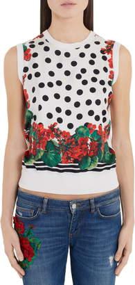Dolce & Gabbana Geranium & Polka Dot Shell Tank