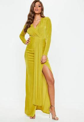 Missguided Chartreuse Slinky Cut Out Maxi Dress