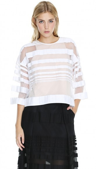 Tibi Striped Jacquard Top