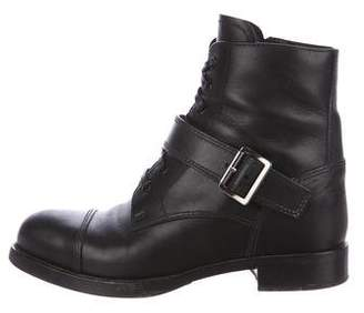 Prada Leather Lace-Up Ankle Boots