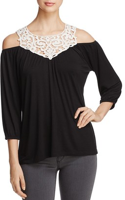 Design History Crochet Yoke Cold Shoulder Top $78 thestylecure.com