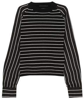 Haider Ackermann Striped Wool-Blend And Satin Sweater