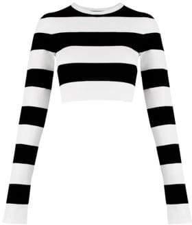 Marc Jacobs Women's Redux Grunge Plaited Stripe Crop Tee - Black Ivory - Size XS