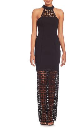 Nicholas Mosaic Lace Halter Gown