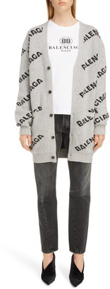 Balenciaga Logo Jacquard Wool Blend Cardigan