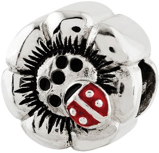 Prerogatives Sterling Lady Bug Flower Bead