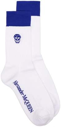 Alexander McQueen white and blue skull intarsia cotton blend socks