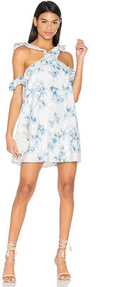 J.O.A. Flower Print Cold Shoulder Dress in White $95 thestylecure.com