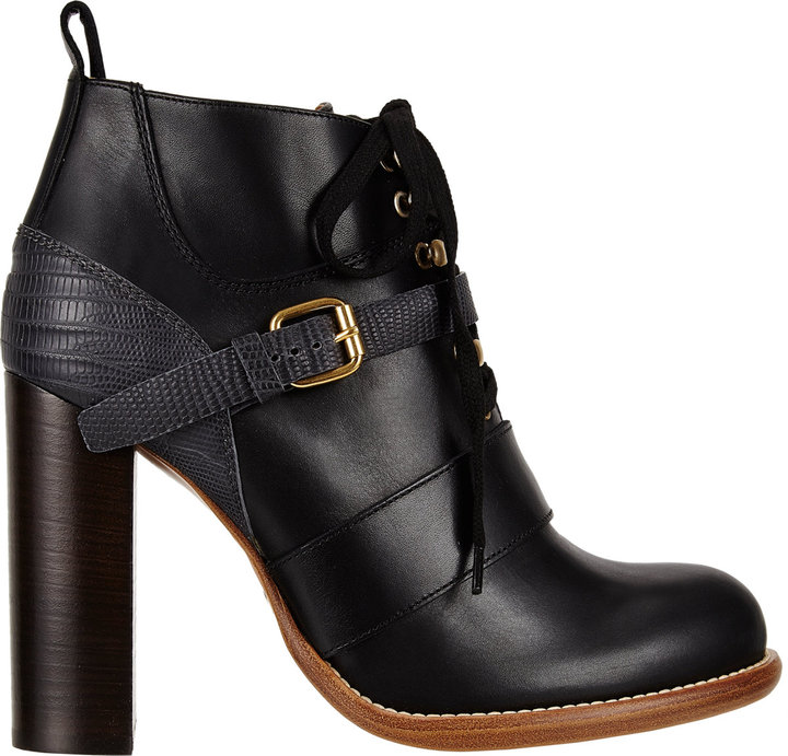 Chloé Lizard-Trim Lace-Up Ankle Boots