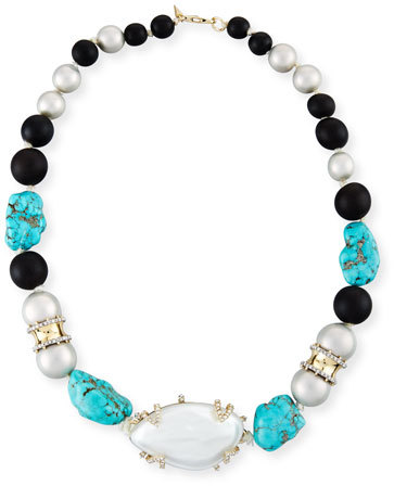 Alexis Bittar Alexis Bittar Liquid Silk Station Necklace, Silver/Turquoise