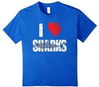 I Love Sharks T-shirt Cool Shark Bite Heart Distressed