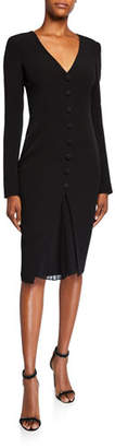 Badgley Mischka V-Neck Long-Sleeve Day Dress