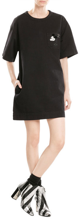 Marc JacobsMarc Jacobs Cotton Dress with Embroidered Patch and Embellishment