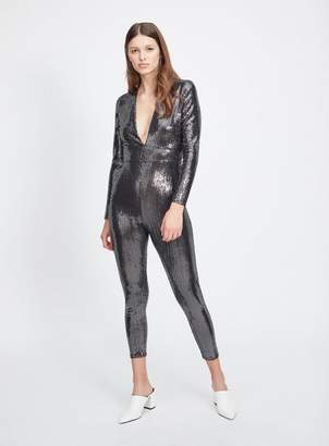 Miss Selfridge Silver sequin catsuit