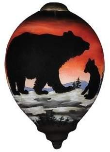 "Precious Moments Bear Cub Silhouette"" Petite Princess Shaped Glass Ornament by Betty Padden"