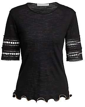 See by Chloe Women's Crochet-Sleeve Wool-Blend Tee