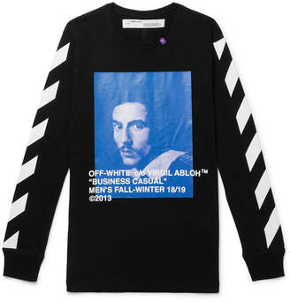 Off-White Off White Printed Cotton-Jersey T-Shirt - Black