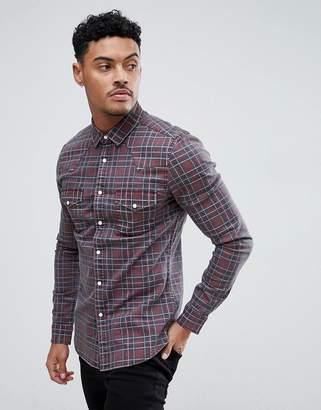 Asos Design DESIGN skinny denim western shirt in red