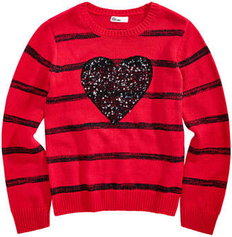 Epic Threads Big Girls Sequin Heart Sweater, Created for Macy's