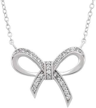 FINE JEWELRY Diamonart Womens White Cubic Zirconia Sterling Silver Bow Pendant Necklace