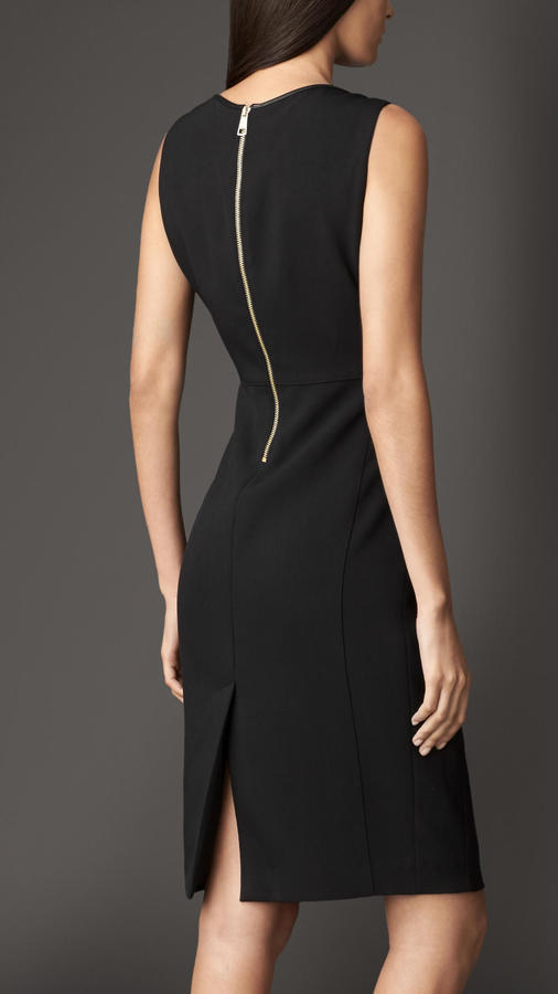 Burberry Leather Detail Tailored Shift Dress