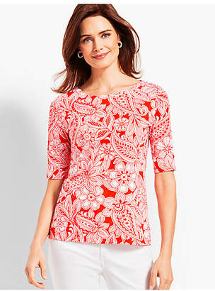 Talbots Scallop-Neck Elbow-Sleeve Tee-Etched Paisley