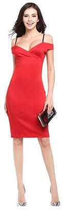 Best Nest Wellness Bestgift Women's Low Bust High Waist Off Shoulder Strap Pencil Dress M