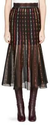 Alexander McQueen Metallic Stitched Midi Skirt