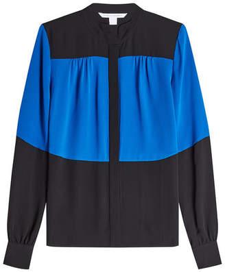 Diane von Furstenberg Collar Block Silk Blouse
