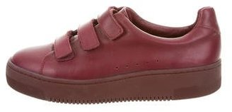 Sandro Leather Low-Top Sneakers $125 thestylecure.com