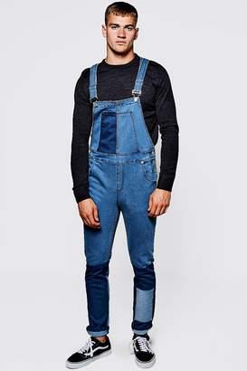 boohoo Mid Blue Slim Fit Patchwork Denim Overalls