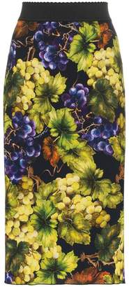 Dolce & Gabbana Grape-print silk-blend cady midi skirt