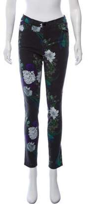 J Brand Floral Mid-Rise Jeans Black Floral Mid-Rise Jeans