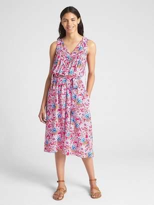 Gap Sleeveless Split-Neck Print Midi Dress
