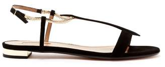 Aquazzura Vogue Flat Sandals - Womens - Black
