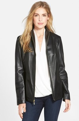 Women's Cole Haan Wing Collar Lambskin Leather Jacket $500 thestylecure.com