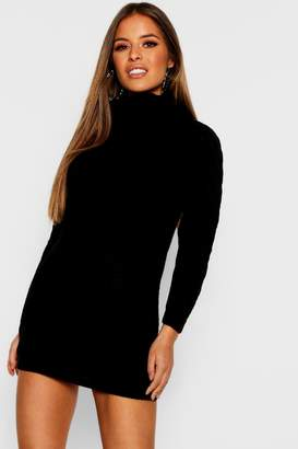 e7844aff7ff boohoo Petite Roll Neck Cable Knit Jumper Dress