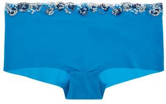 La Perla Opal Blooms Azure Lycra Hipster Briefs With Embroidered Tulle Trim