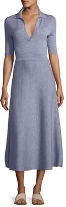 Gabriela Hearst Half-Sleeve Knit Polo Midi Dress