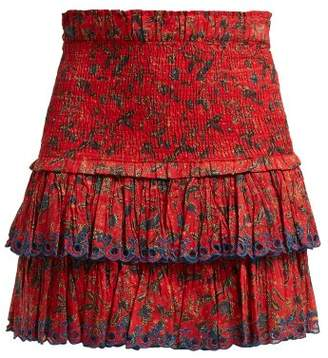 Etoile Isabel Marant Naomi Floral Print Mini Skirt - Womens - Red Multi