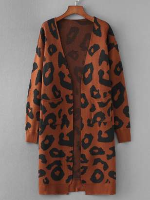 Shein Pocket Front Leopard Print Cardigan