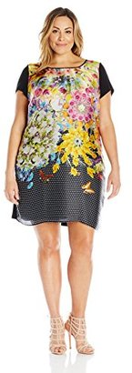 Single Dress Women's Plus Size Printed Front Short Sleeve Shift $153 thestylecure.com