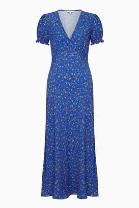 Next Womens Ghost London Blue Printed Poet Bias Cut Crepe Midi Dress