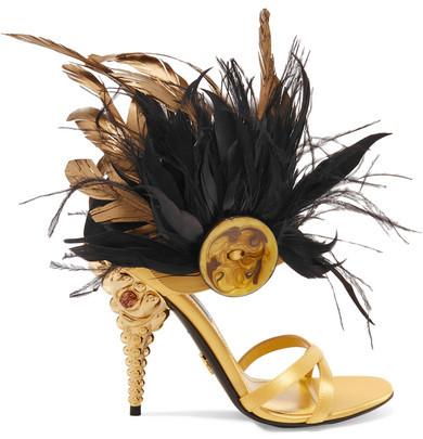 Prada - Feather-trimmed Crystal-embellished Satin Sandals - Gold