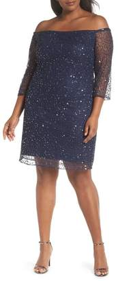 Pisarro Nights Beaded Off the Shoulder Sheath Dress