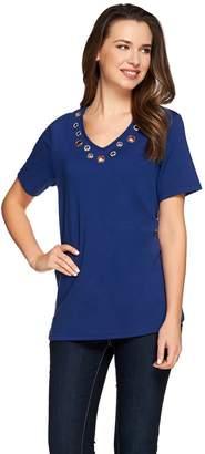 Americana Quacker Factory Grommet Short Sleeve T-shirt